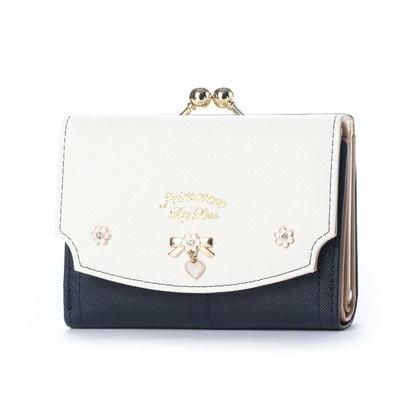 プリムヴェールリズリサ Primevere LIZ LISA ジンジャー リボンブローチ付き配色がま口折財布 (ネイビー)