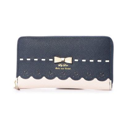 プリムヴェールリズリサ Primevere LIZ LISA チロル リボン&スカラップ配色ラウンド長財布 (ネイビー)