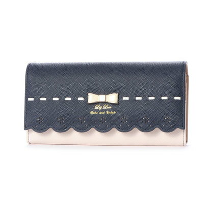 プリムヴェールリズリサ Primevere LIZ LISA チロル リボン&スカラップ配色長財布 (ネイビー)