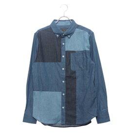 スタイルブロック STYLEBLOCK 4.5OZデニムブロック切り替えボタンダウンシャツ (ブルー)