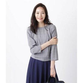 ニューヨーカー NEWYORKER カラードグレンチェック 裾タックブラウス (ブラック)