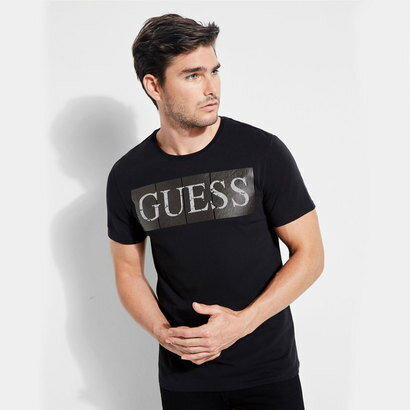 ゲス GUESS FOIL LOGO BAND TEE (JET BLACK)