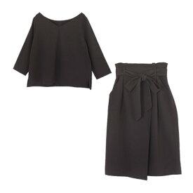 ユアーズ ur's ラップ風スカートセットアップ (ブラック)