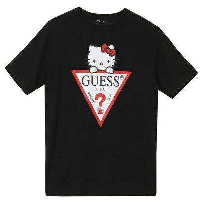 GUESS x Hello Kitty TRIANGLE LOGO TEE (BLACK) (ゲス × ハローキティ トライアングルロゴTシャツ)