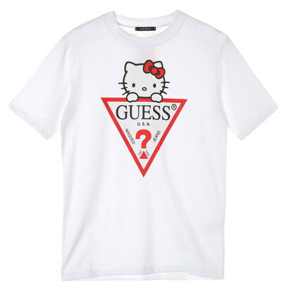 GUESS x Hello Kitty TRIANGLE LOGO TEE (WHITE) (ゲス × ハローキティ トライアングルロゴTシャツ)