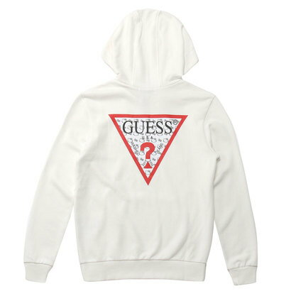 GUESS x Hello Kitty PATTERN TRIANGLE LOGO PULLOVER PARKA (IVORY) (ゲス × ハローキティ パターントライアングルロゴ プルオーバ