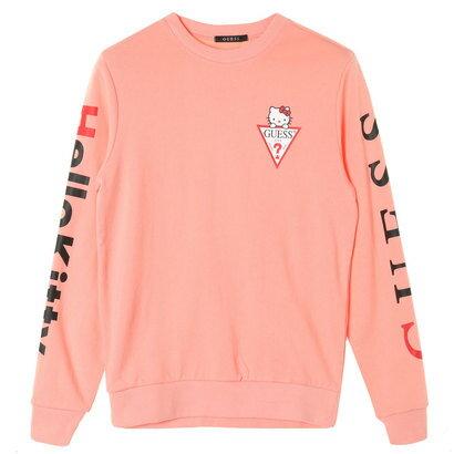 GUESS x Hello Kitty SLEEVE LOGO CREW SWEAT (PINK)(ゲス × ハローキティ スリーブロゴクルースウェット)