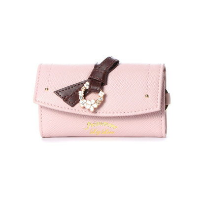 プリムヴェールリズリサ Primevere LIZ LISA ジュエル リボン付前ポケット付キーケース (ピンク)