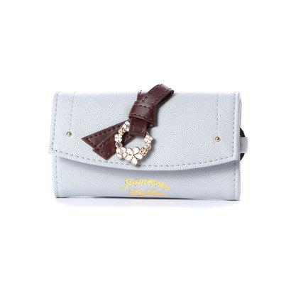 プリムヴェールリズリサ Primevere LIZ LISA ジュエル リボン付前ポケット付キーケース (ブルー)