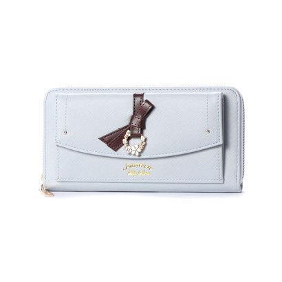 プリムヴェールリズリサ Primevere LIZ LISA ジュエル リボン付前ポケット付ラウンド長財布 (ブルー)