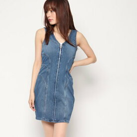 【アウトレット】ゲス GUESS PANELED DENIM BODYCON MINI DRESS (SOLAR WASH)