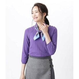ニューヨーカー NEWYORKER 【手洗い可能】【Days Knit】リブ見えクルーネックプルオーバー (パープル)