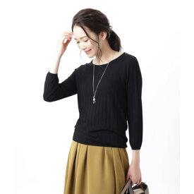 ニューヨーカー NEWYORKER 【手洗い可能】【Days Knit】リブ見えクルーネックプルオーバー (ブラック)