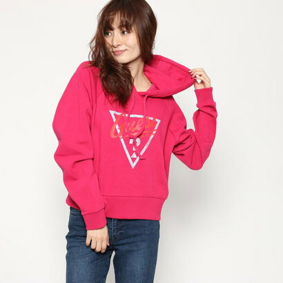 ゲス GUESS Originals TRIANGLE LOGO HOODIED PARKA (DRAGONFRUIT)
