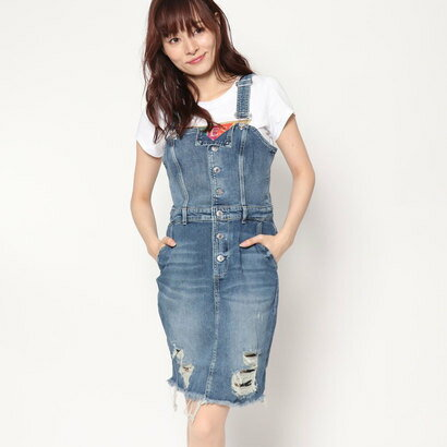 ゲス GUESS DENIM BRACE DRESS (ELM INDIGO)