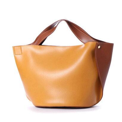 【アウトレット】クーコ COOCO 変わりマチ配色フェイクレザートートバッグ (キャメル)