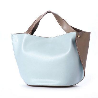 【アウトレット】クーコ COOCO 変わりマチ配色フェイクレザートートバッグ (サックス)