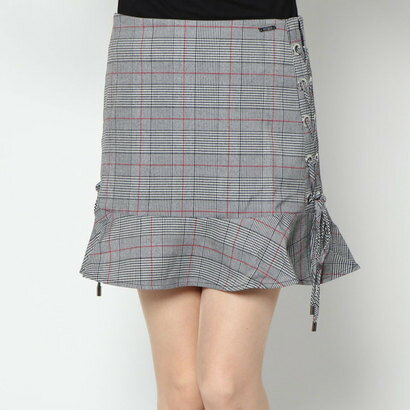 ゲス GUESS CELESTINE SKIRT (GREY RED CHECK COMBO)