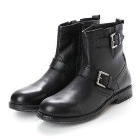 【アウトレット】キスコ KISCO [本革]メンズWベルト飾りサイドジッパーエンジニアブーツ (ブラック)