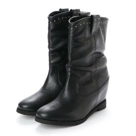 キスコ KISCO 【本革】スタッズ飾りインヒールミドルブーツ (ブラック)