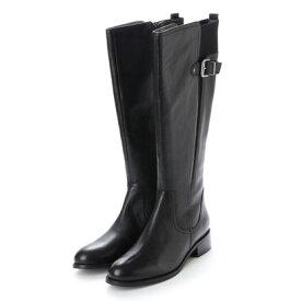 【アウトレット】キスコ KISCO 【本革】ベルト飾りロングブーツ (ブラック)