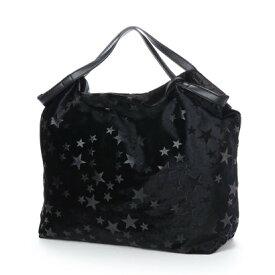 【アウトレット】クーコ COOCO ベロア風星柄ポケッタブルトートバッグ (ブラック)