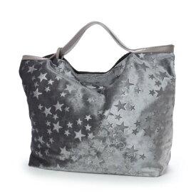 【アウトレット】クーコ COOCO ベロア風星柄ポケッタブルトートバッグ (グレー)