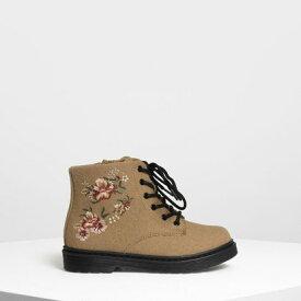 【アウトレット】キッズ フローラル エンブロイダリー ブーツ / Kids Floral Embroidery Boots (Beige)