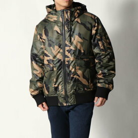 【アウトレット】ゲス GUESS ALPINE CAMO BOMBER JACKET (PAINTED CAMO GREEN)