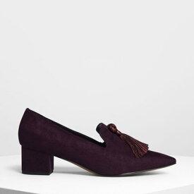 【アウトレット】スエード ブロックヒール ローファー / Suede Brock Heels Loafer (Purple)
