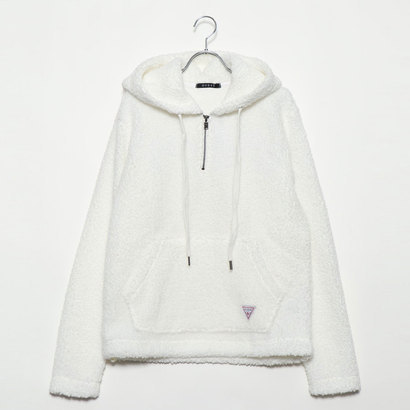 ゲス GUESS LOGO BOA HOODED HALF ZIP-UP PARKA【ONLINE EXCLUSIVE ITEM】 (IVORY)