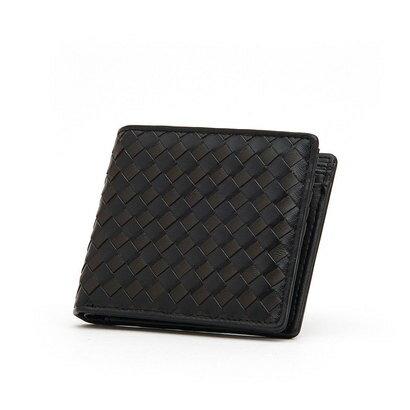 ヴァンキッシュ VANQUISH ラム革編込み二つ折り財布 (BLK/D.BRN)