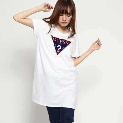 ゲス GUESS FLOCKED LONGLINE TRIANGLE LOGO TEE (PURE WHITE)