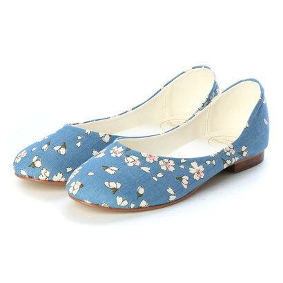 【アウトレット】マイワリサ mywarisa 桜柄フラットパンプス (Light Blue)