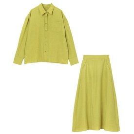 ユアーズ ur's リネンライクシャツ×スカートセットアップ (グリーンイエロー)