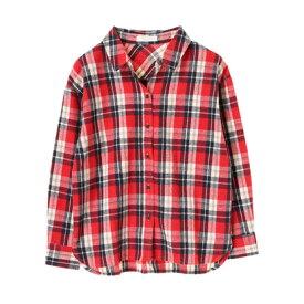 【アウトレット】グリーンパークス Green Parks カジュアルチェックBIGシャツ (Red)