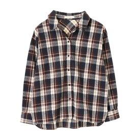 【アウトレット】グリーンパークス Green Parks カジュアルチェックBIGシャツ (Brown)