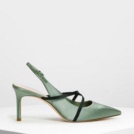 クリスクロスデティール スリングバックヒール / Criss Cross Detail Slingback Heels (Green)
