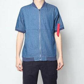 スタイルブロック STYLEBLOCK 4.5OZデニムシャツMA-1ミリタリー半袖シャツ (ブルー)