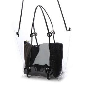 クーコ COOCO インバッグ付クリアトートバッグ (ブラック)
