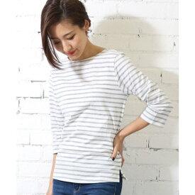 ミリアンデニ mili an deni 7分袖袖シャンブレー切替Tシャツ (白x灰)