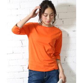 ミリアンデニ mili an deni 7分袖袖シャンブレー切替Tシャツ (オレンジ)