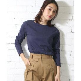 ミリアンデニ mili an deni 7分袖袖シャンブレー切替Tシャツ (ネイビー)