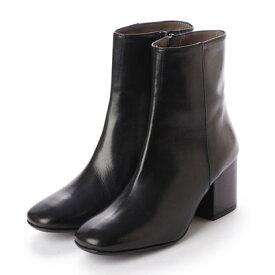 【アウトレット】インターショシュール INTER-CHAUSSURES 7cmヒールスムースショートブーツ (ブラック)