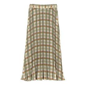 ユアーズ ur's チェックプリーツスカート (ミントグリーン)