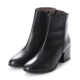 【アウトレット】インターショシュール INTER-CHAUSSURES 6.5cmヒールスムースショートブーツ (ブラック)