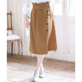 コウベレタス KOBE LETTUCE ラップ風ボタン付きデザインスカート (ベージュ)