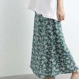オゾック OZOC [洗える]花柄ナローマキシスカート (ダークグリーン)
