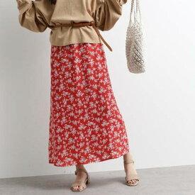 オゾック OZOC [洗える]花柄ナローマキシスカート (レッド)