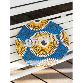 【チャイハネ】アフリカ・キテンゲ柄ラウンドクッション ブルー